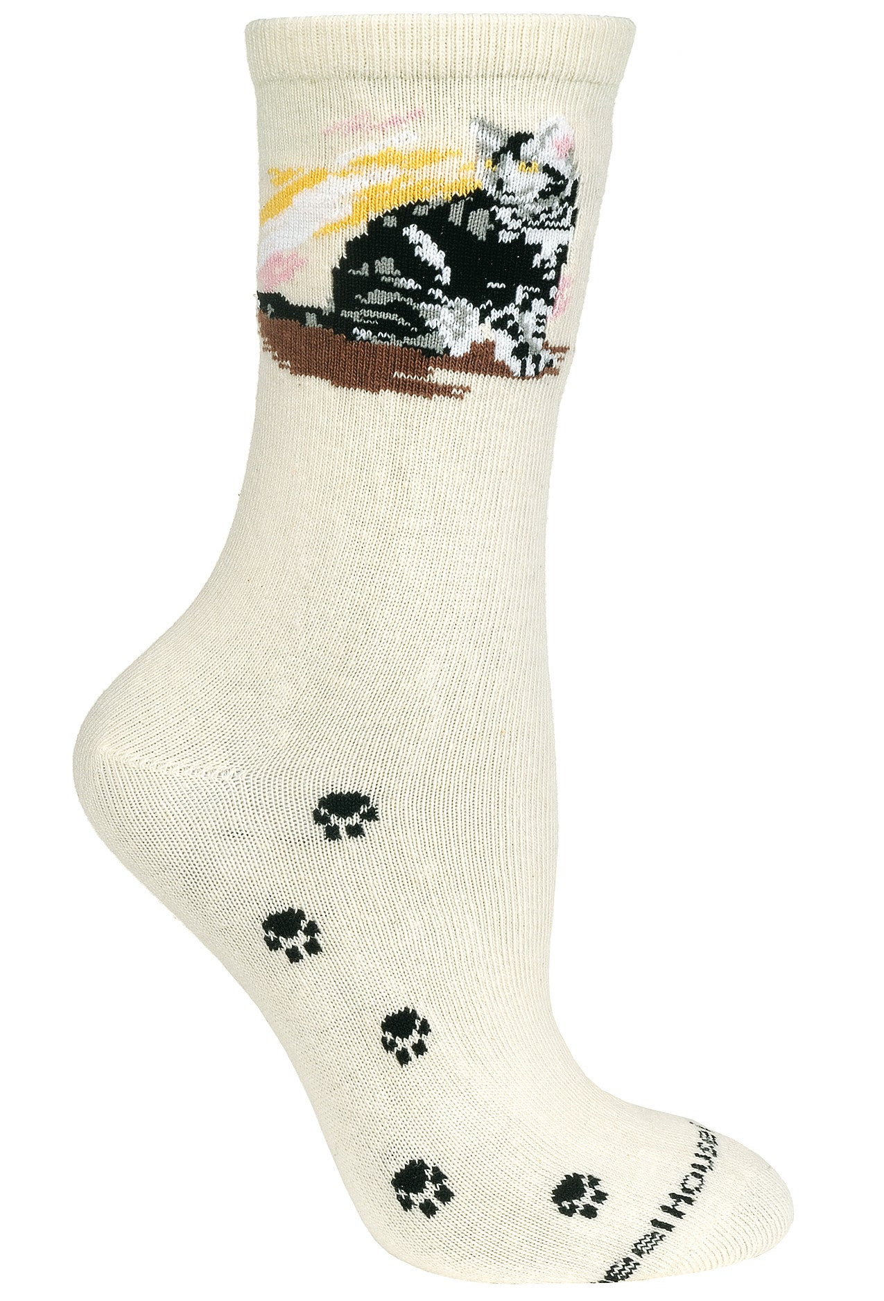 Silver Tabby Cat on Natural Crew Socks