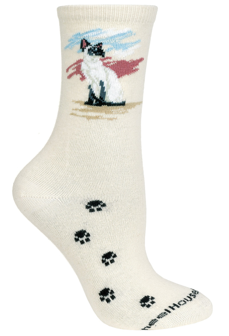 Siamese Cat Crew Socks on Natural