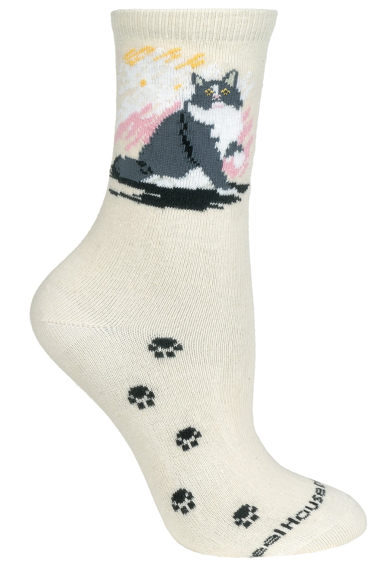 Ragamuffin Cat Crew Socks on Natural Socks