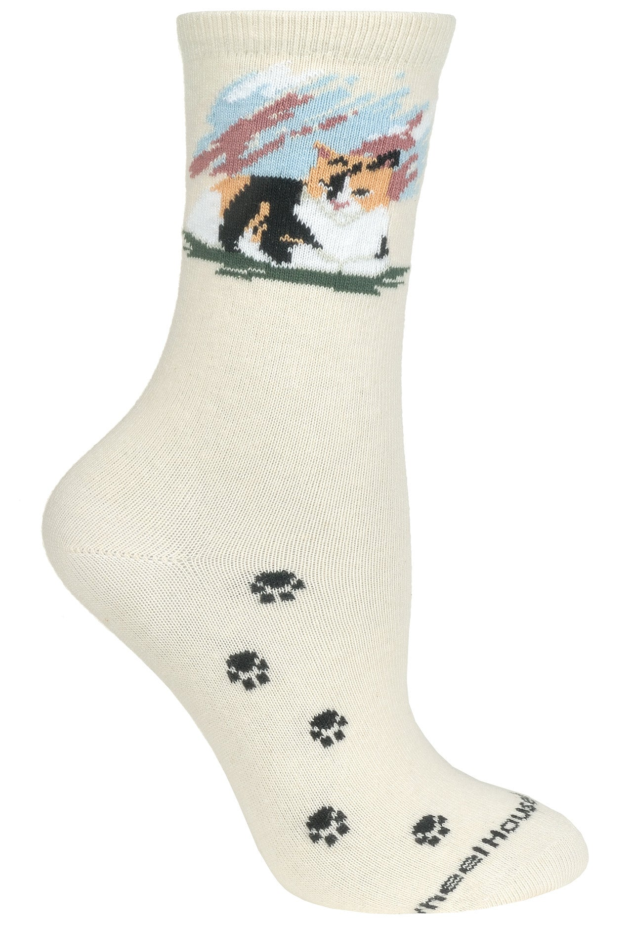 Calico Cats Crew Socks on Natural