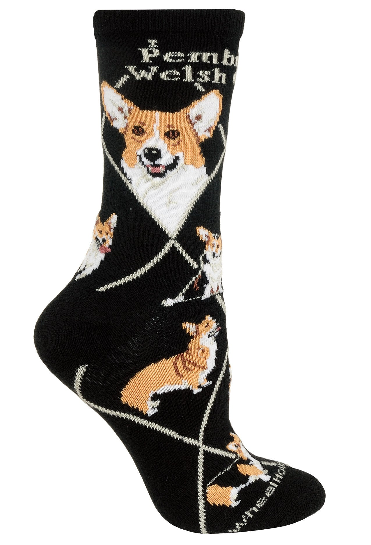 Corgi, Pembroke Welsh Crew Socks on Black