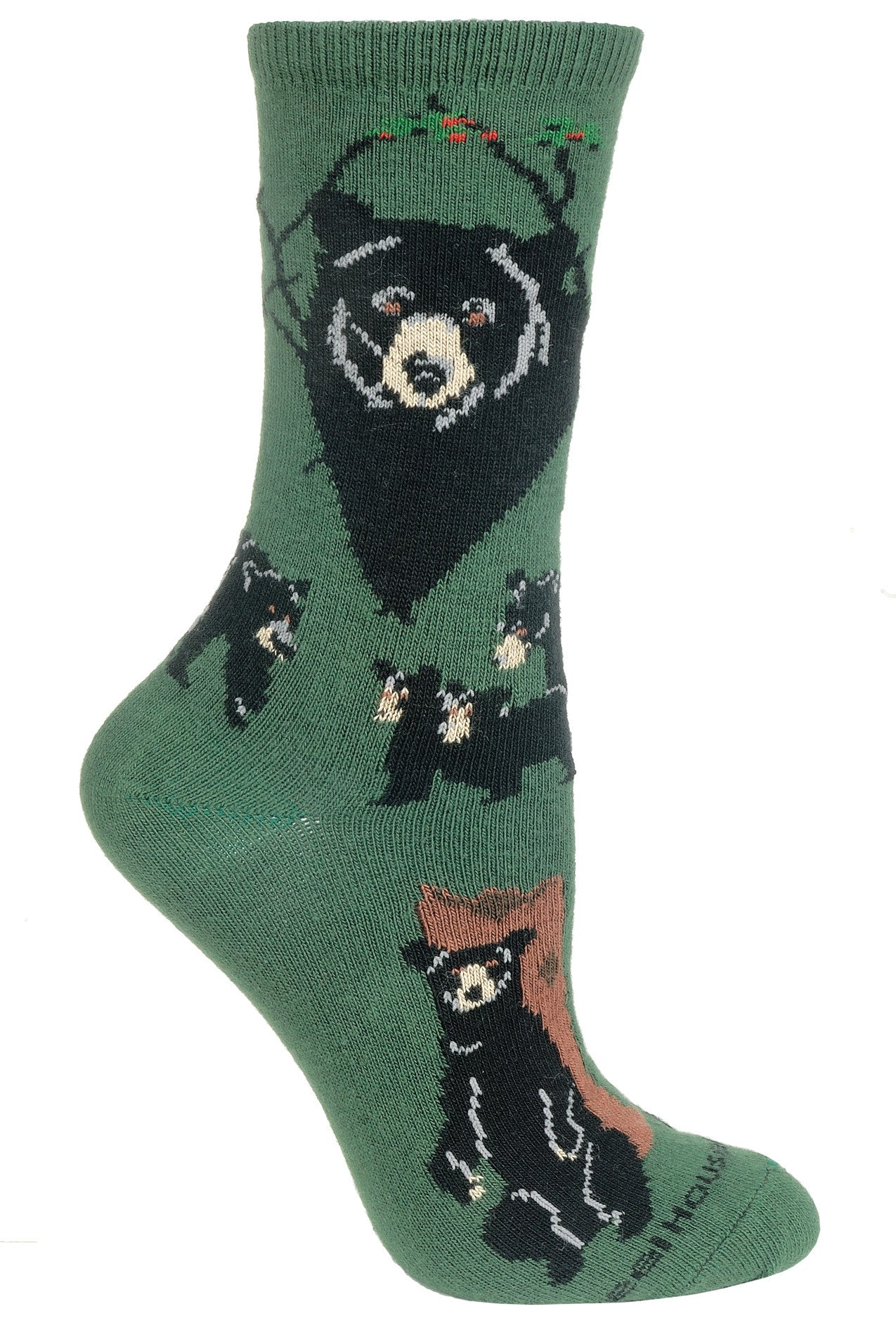 Black Bear on Hunter Green Crew Socks