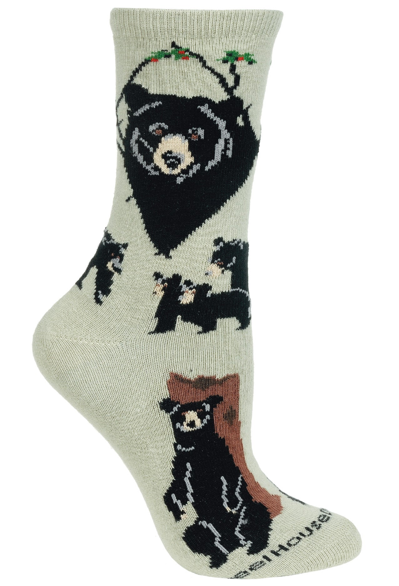 Bear, Black on Stone Socks