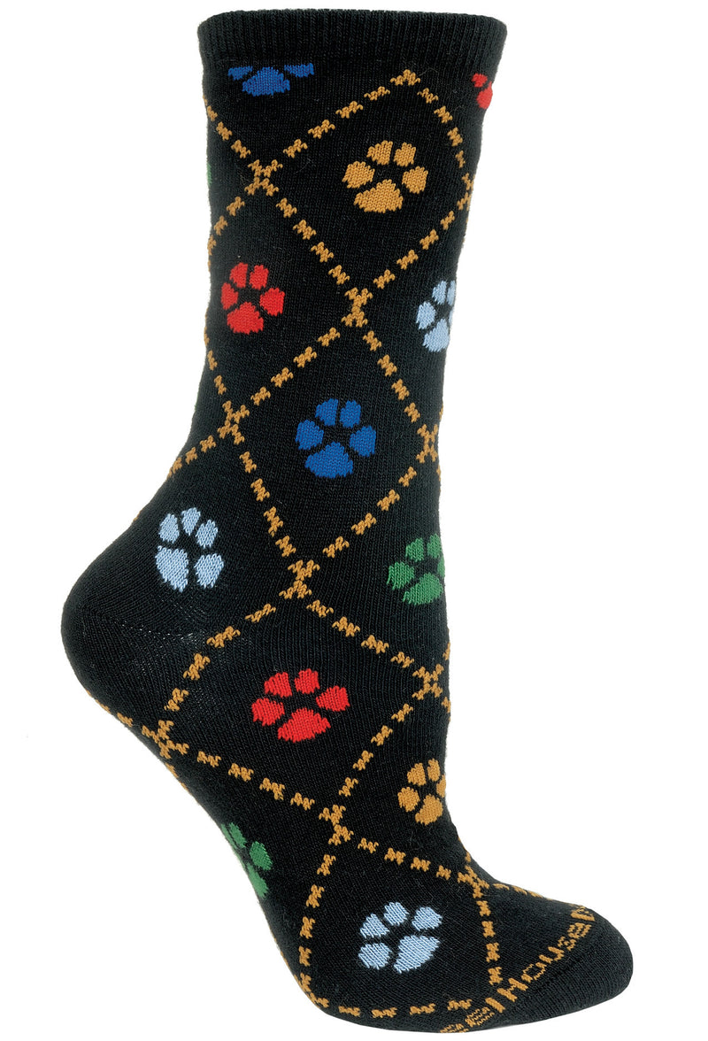 Dog Paws Crew Socks on Black