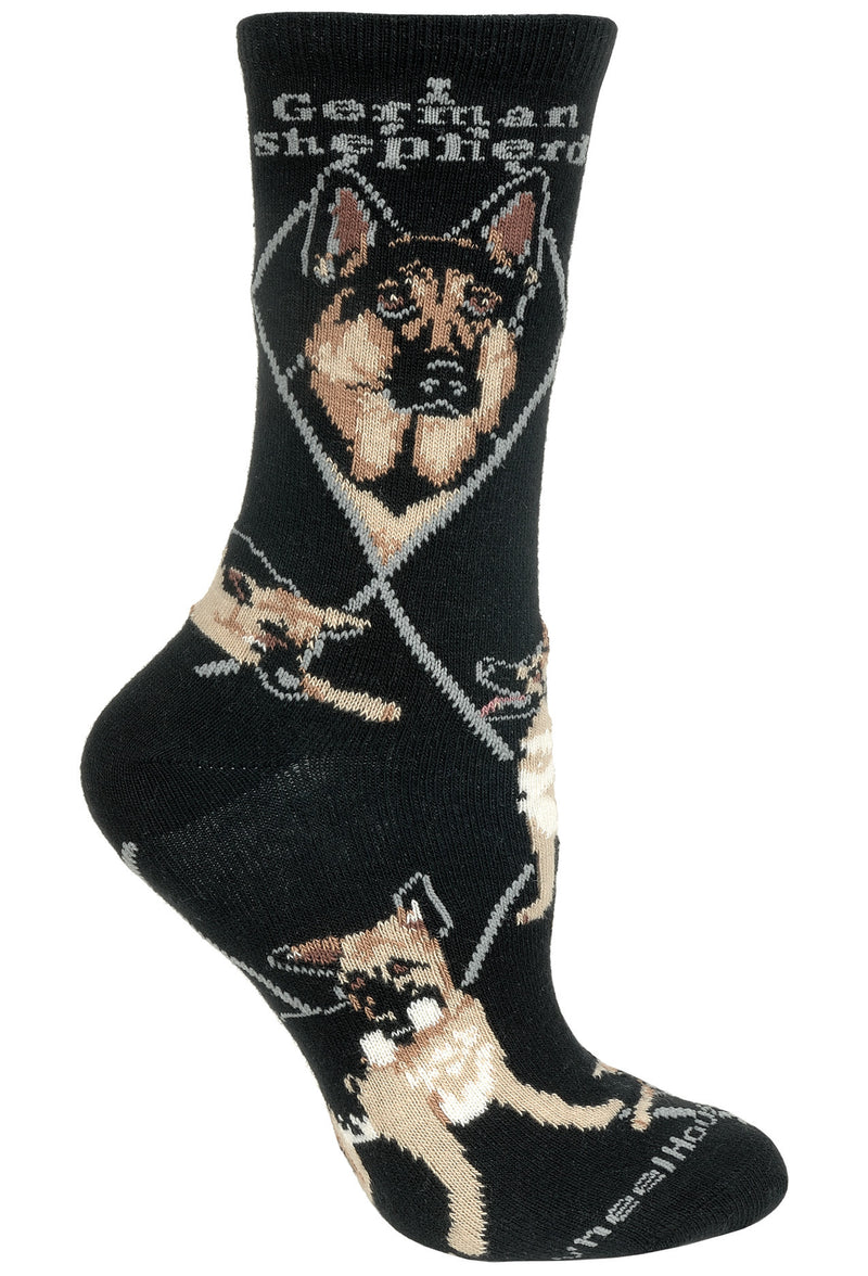 German Shepherd Crew Socks on Black