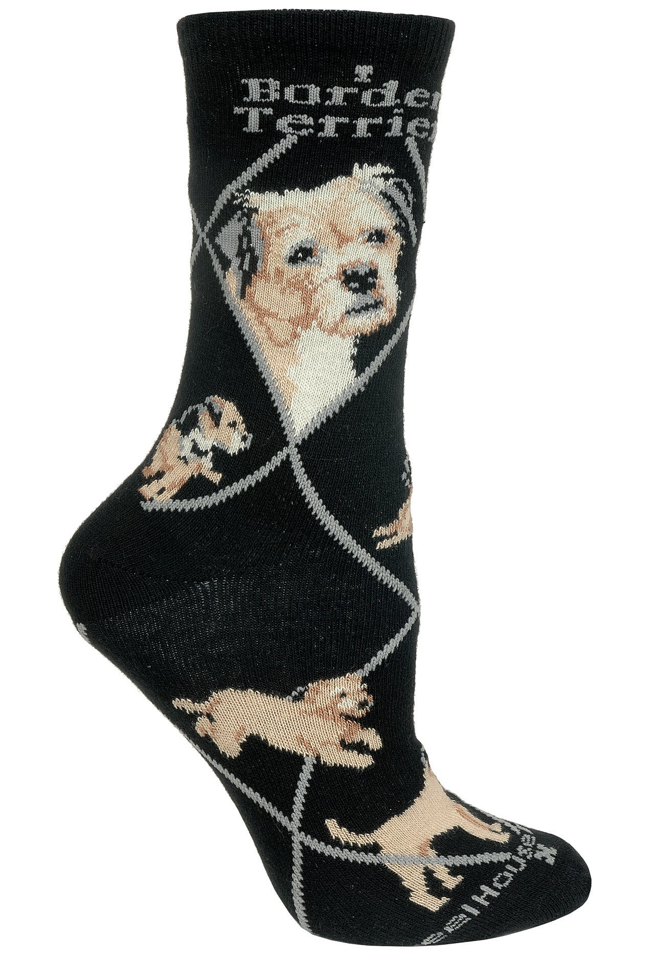 Border Terrier Crew Socks on Black