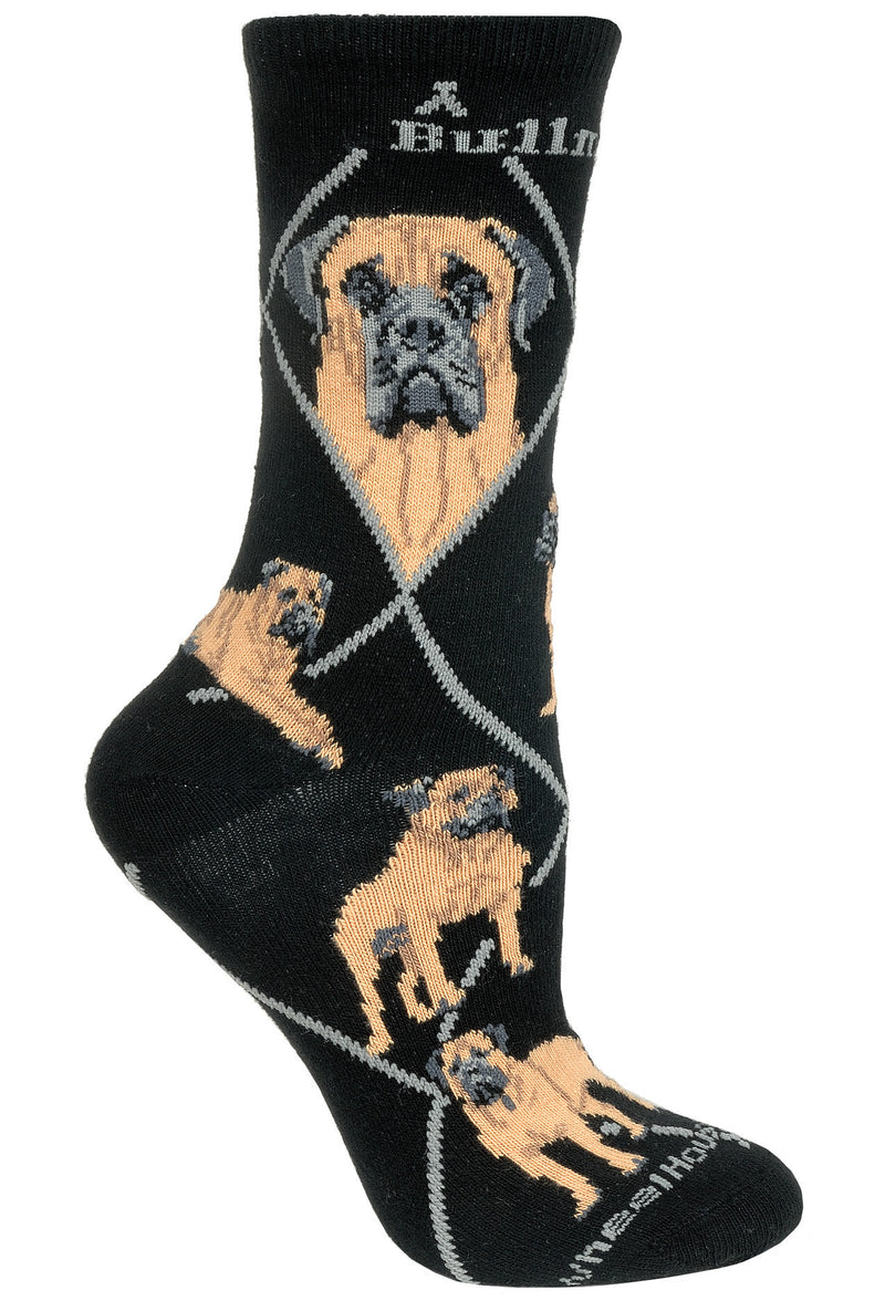 Bullmastiff Crew Socks on Black