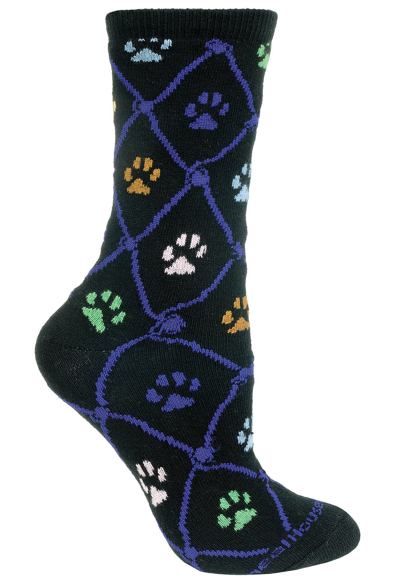 Cat Paws Crew Socks on Black