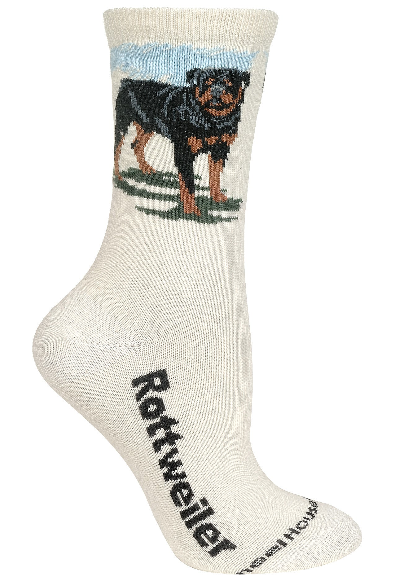 Rottweiler on Natural Socks