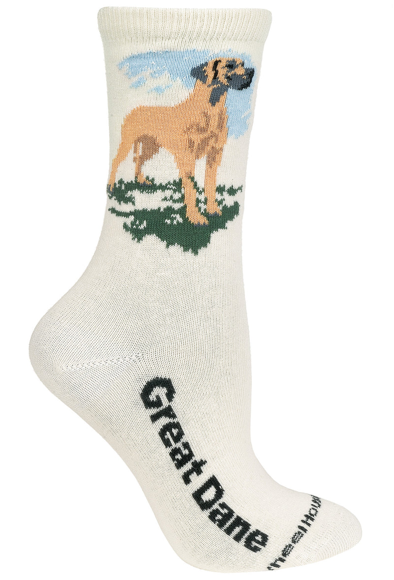 Great Dane Crew Socks on Natural