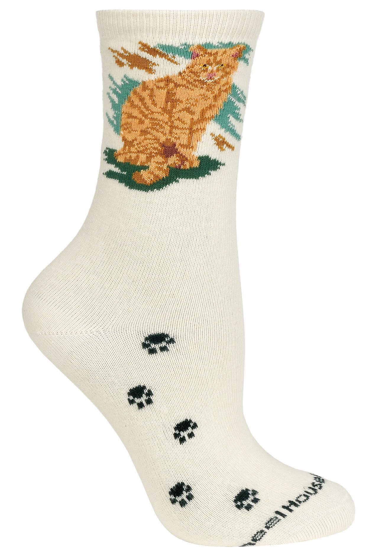 Orange Tabby Cat on Natural Crew Socks