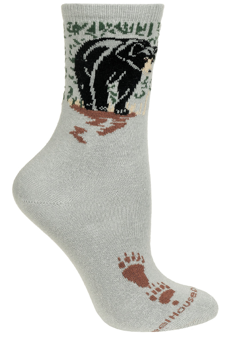 Black Bear on Gray Crew Socks