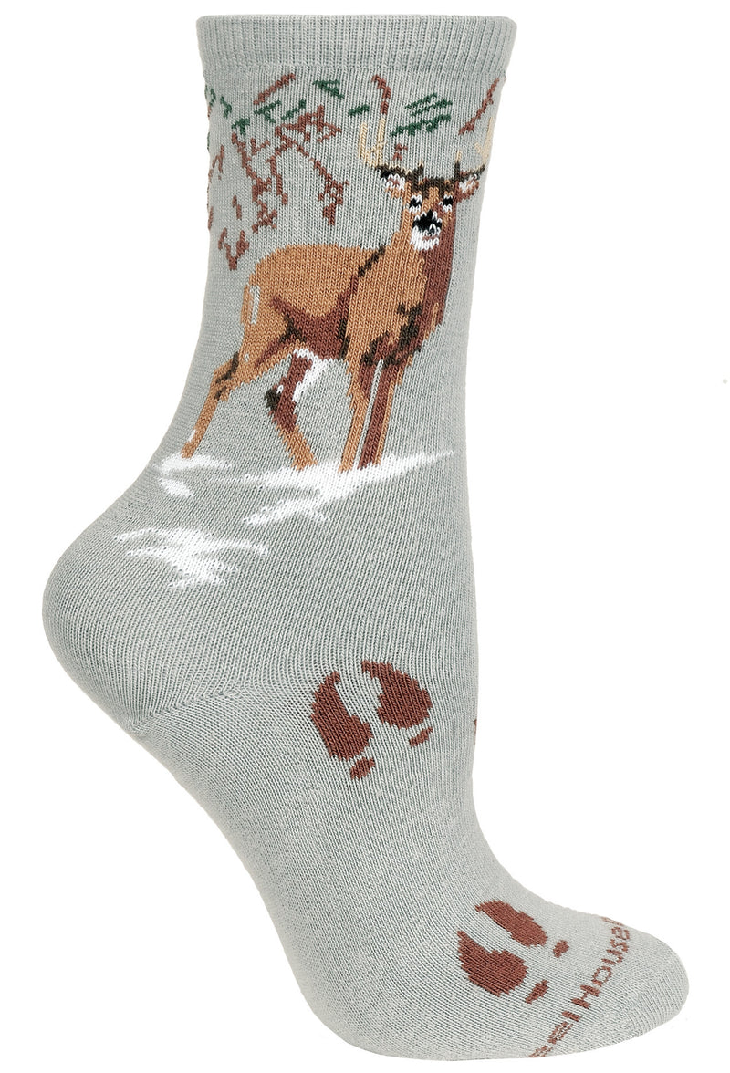 Deer Crew Socks on Gray
