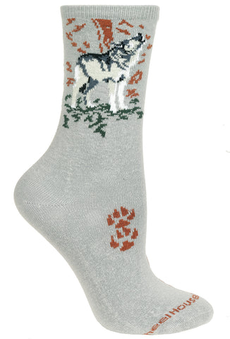 Wolf on Gray Socks