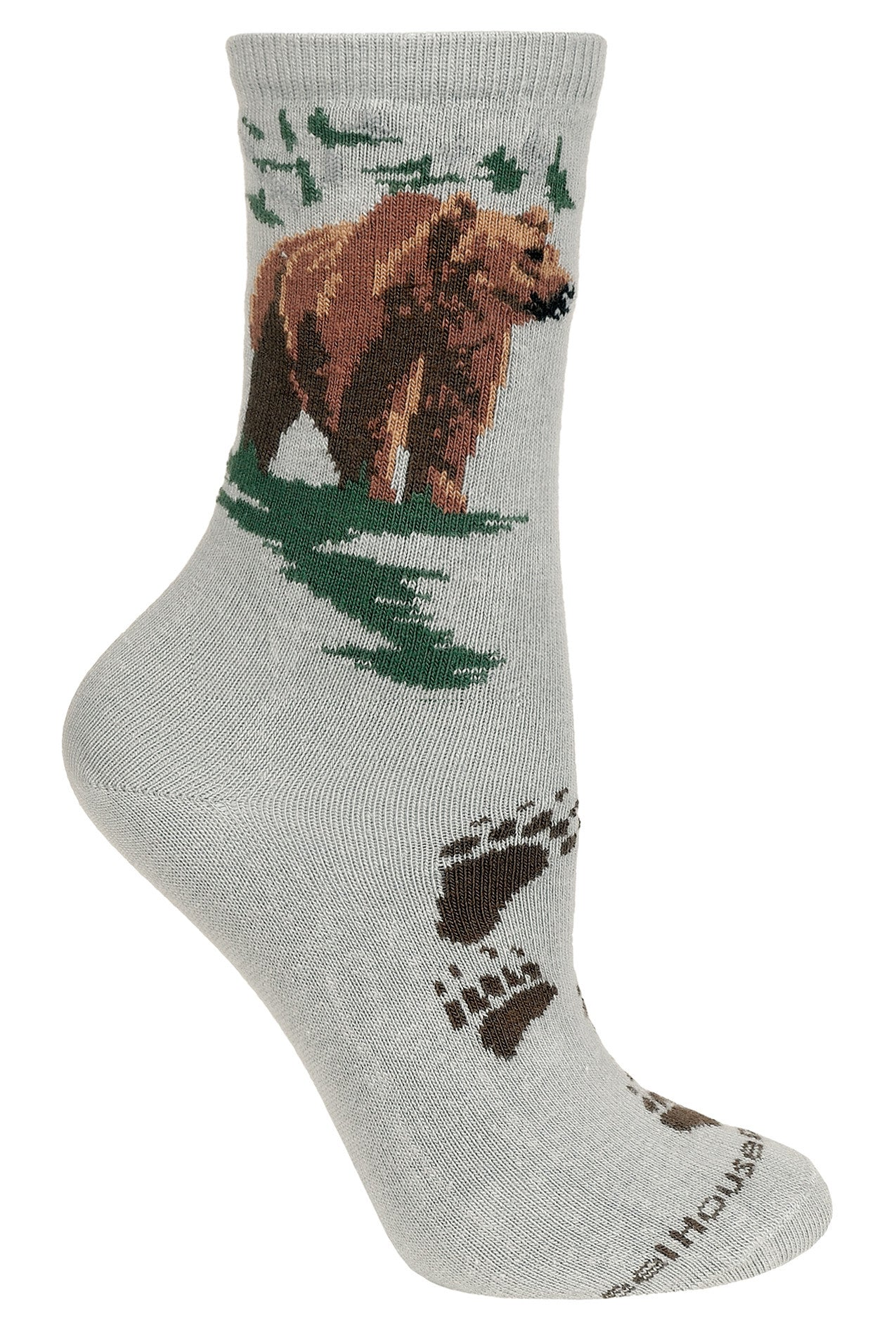 Grizzly Bear on Gray Crew Socks