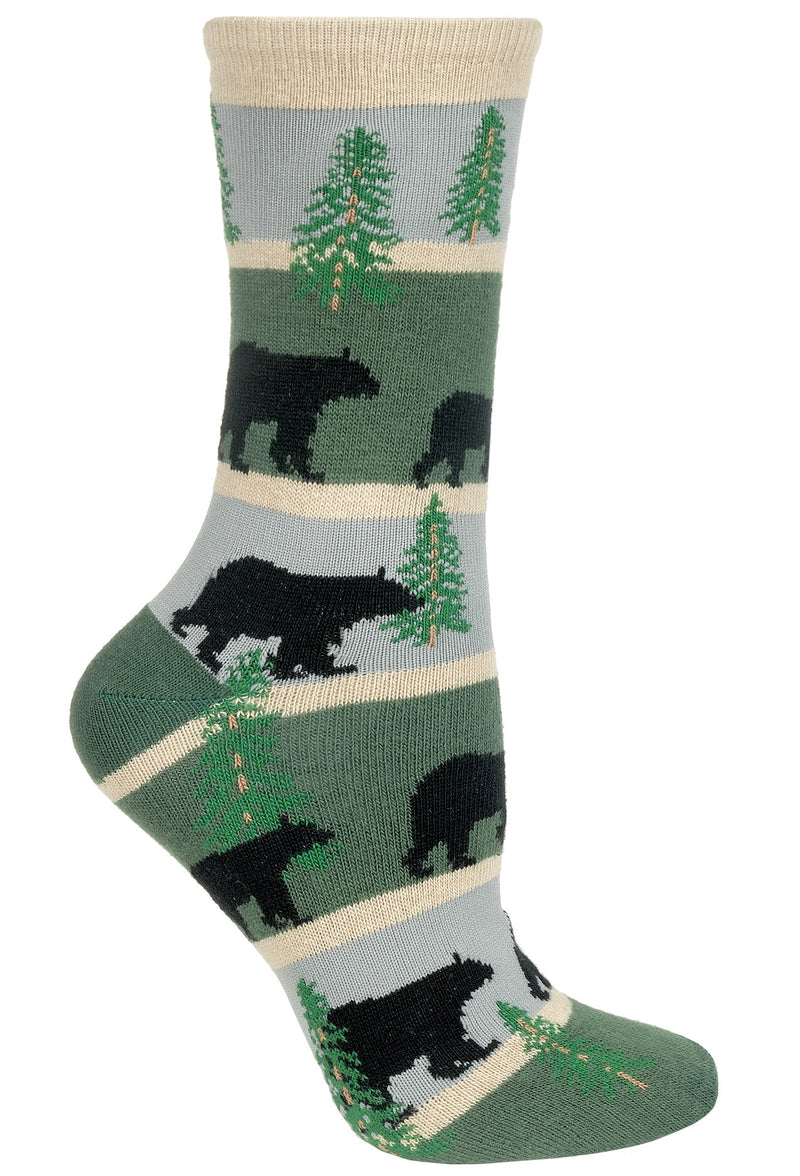 Bear With Stripes on Hunter and Gray Crew Socks