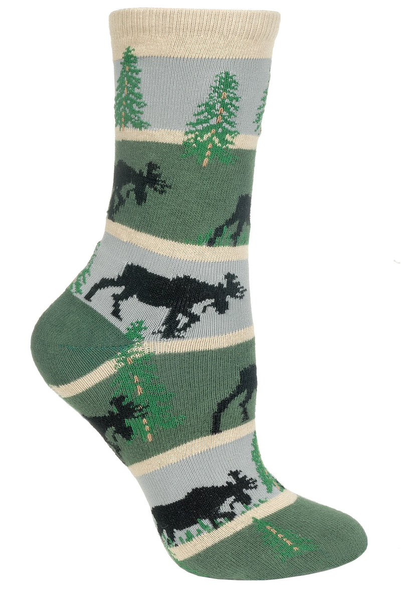 Moose With Stripes Crew Socks on Hunter and Gray