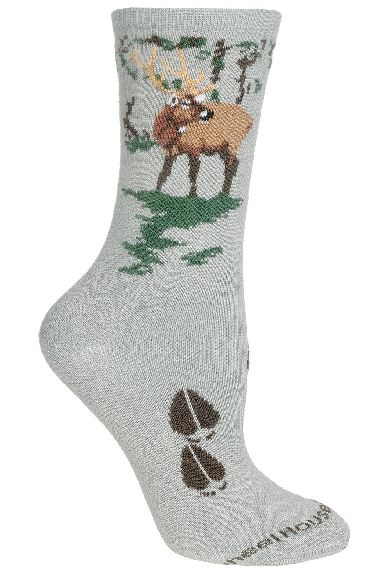 Elk Crew Socks on Gray