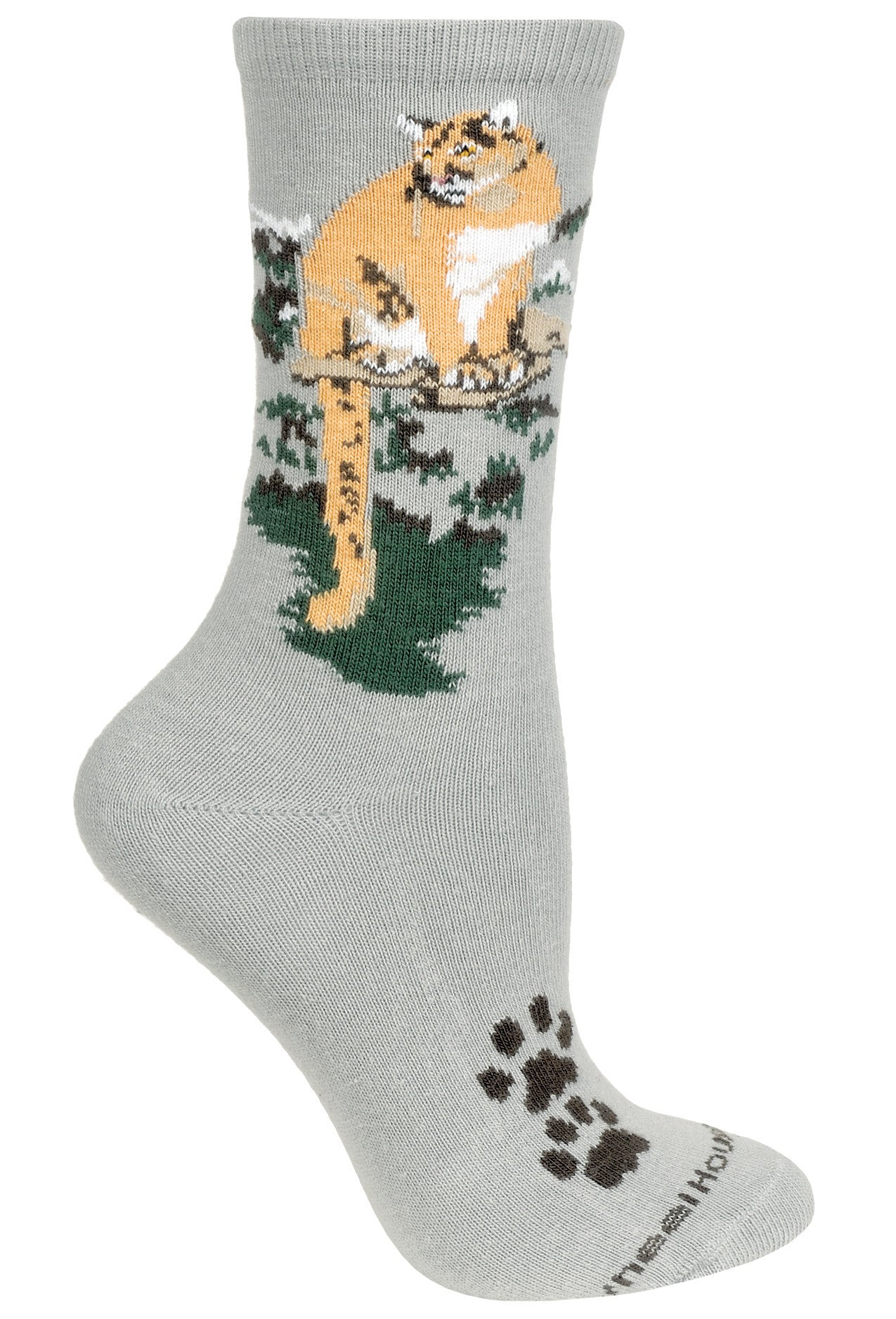 Mountain Lion Crew Socks on Gray