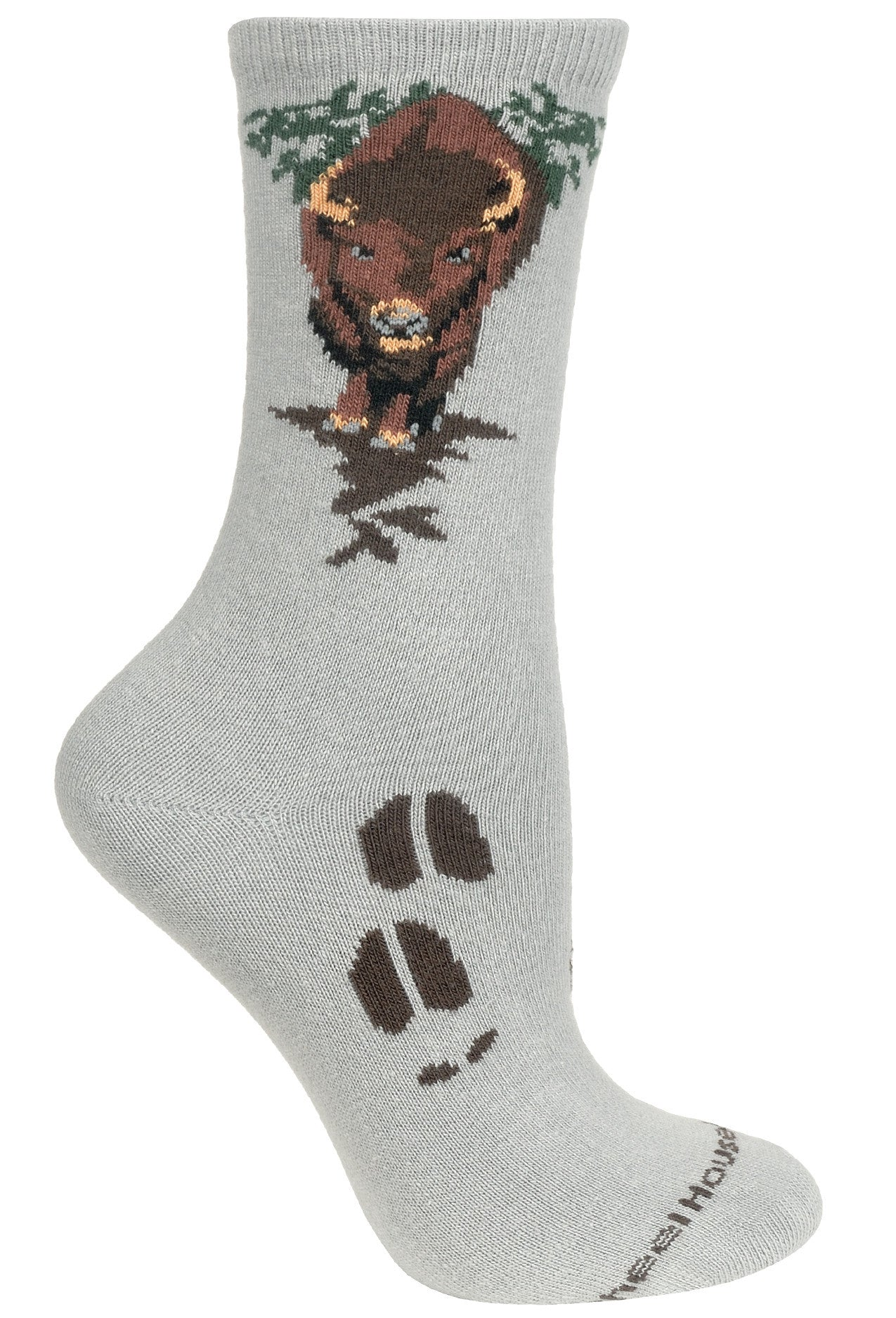 Buffalo on Gray Socks