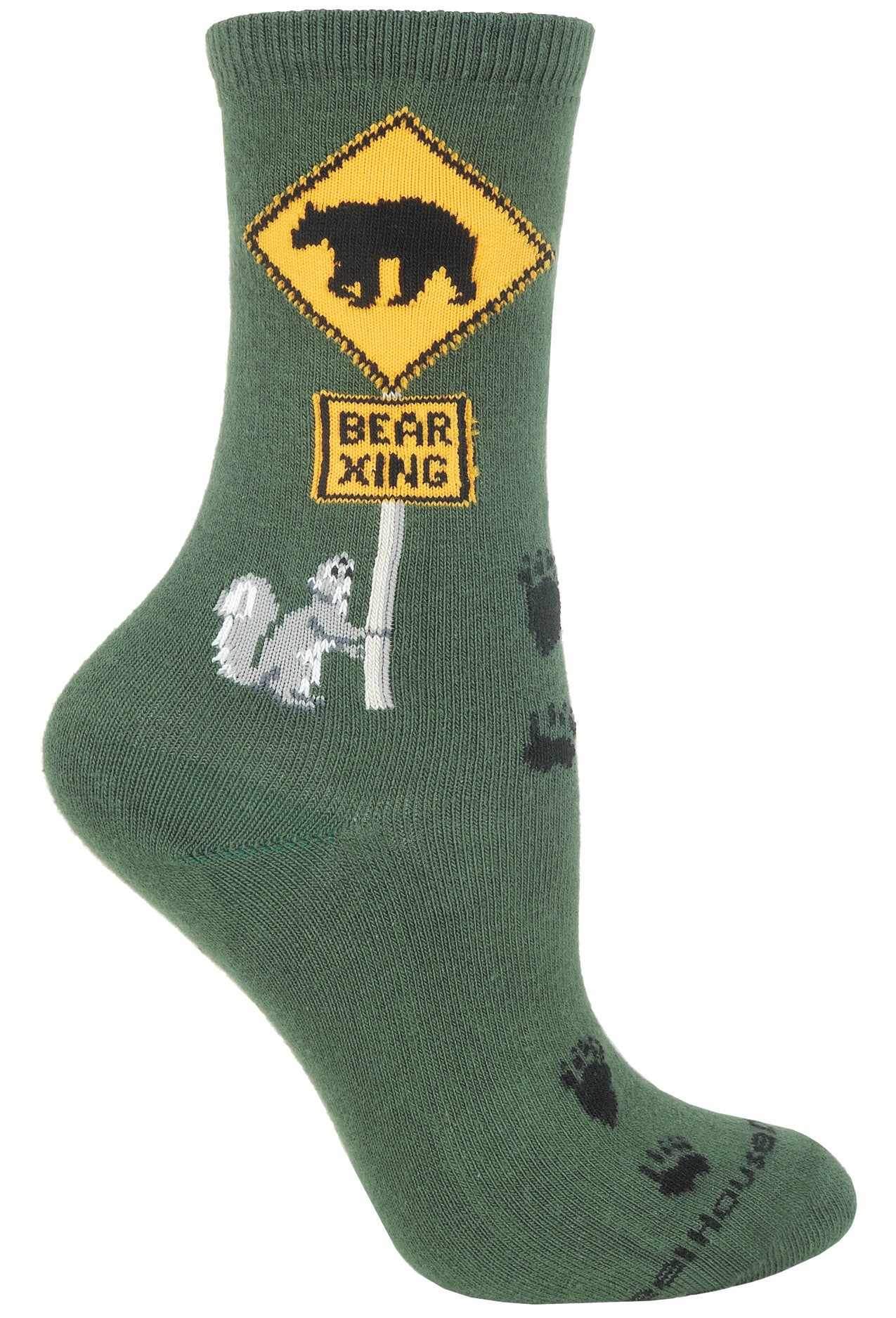 Bear Xing Crew Socks on Hunter Green