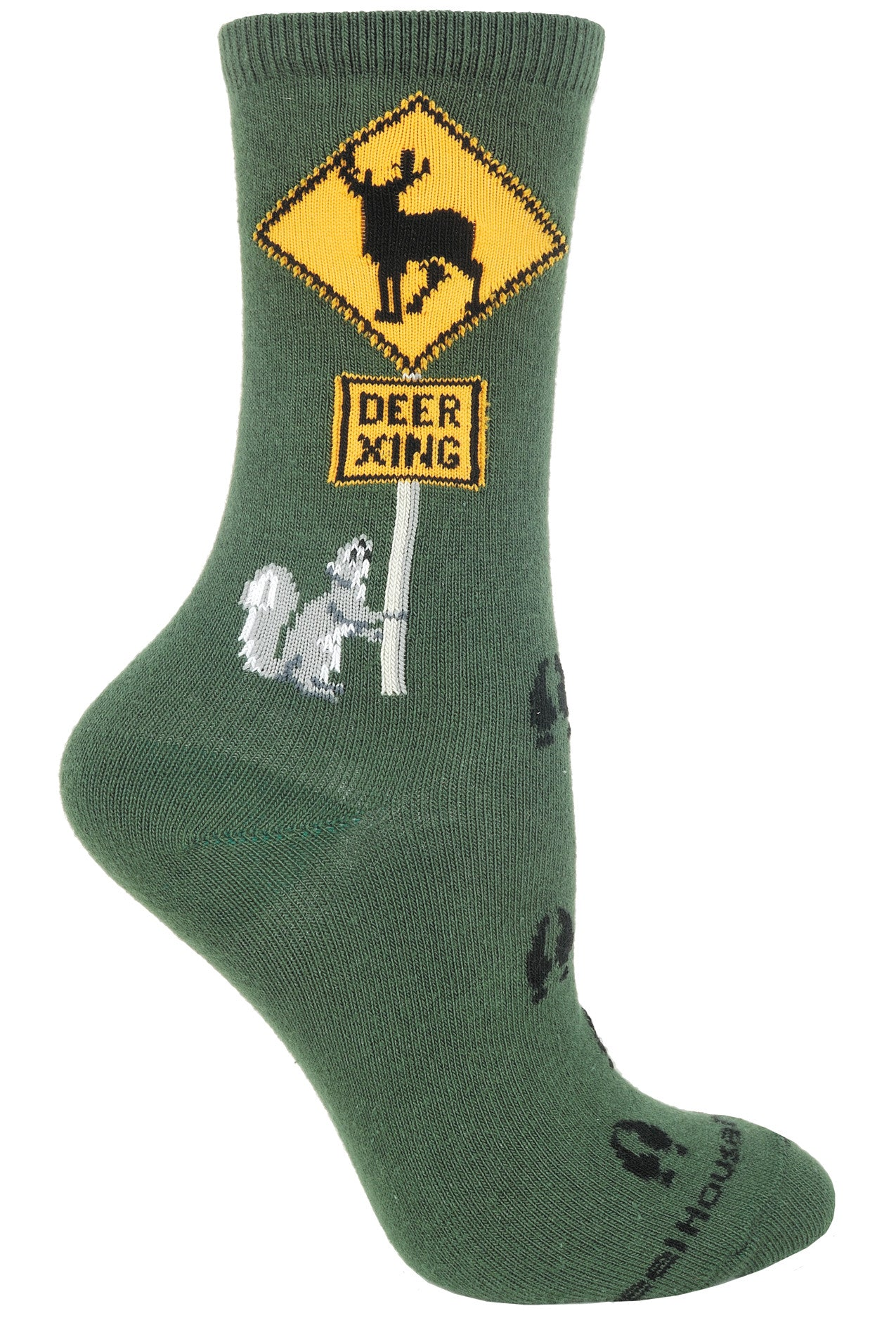 Deer Xing Crew Socks on Hunter Green