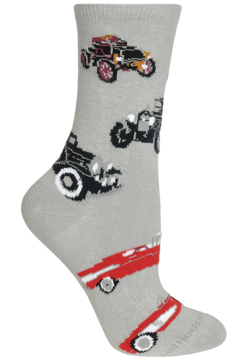 Antique Cars Crew Socks on Gray