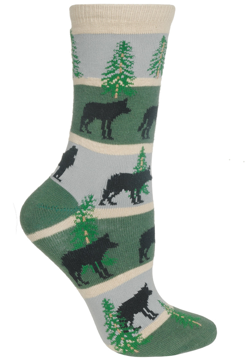 Wolf With Stripes Crew Socks on Hunter and Gray