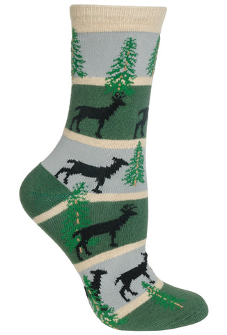 Deer, Stripes on Hunter/Gray Socks
