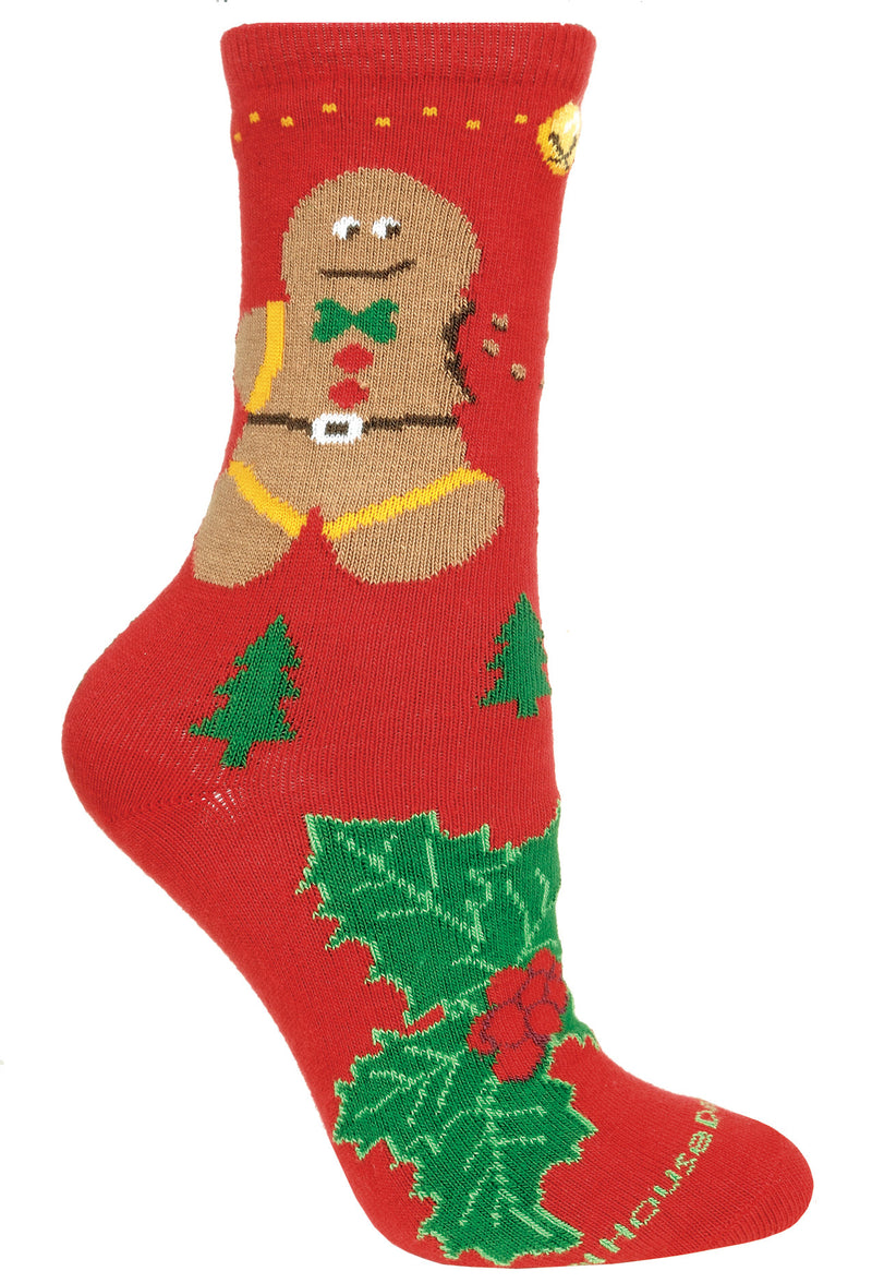 Gingerbread Man Crew Socks on Red