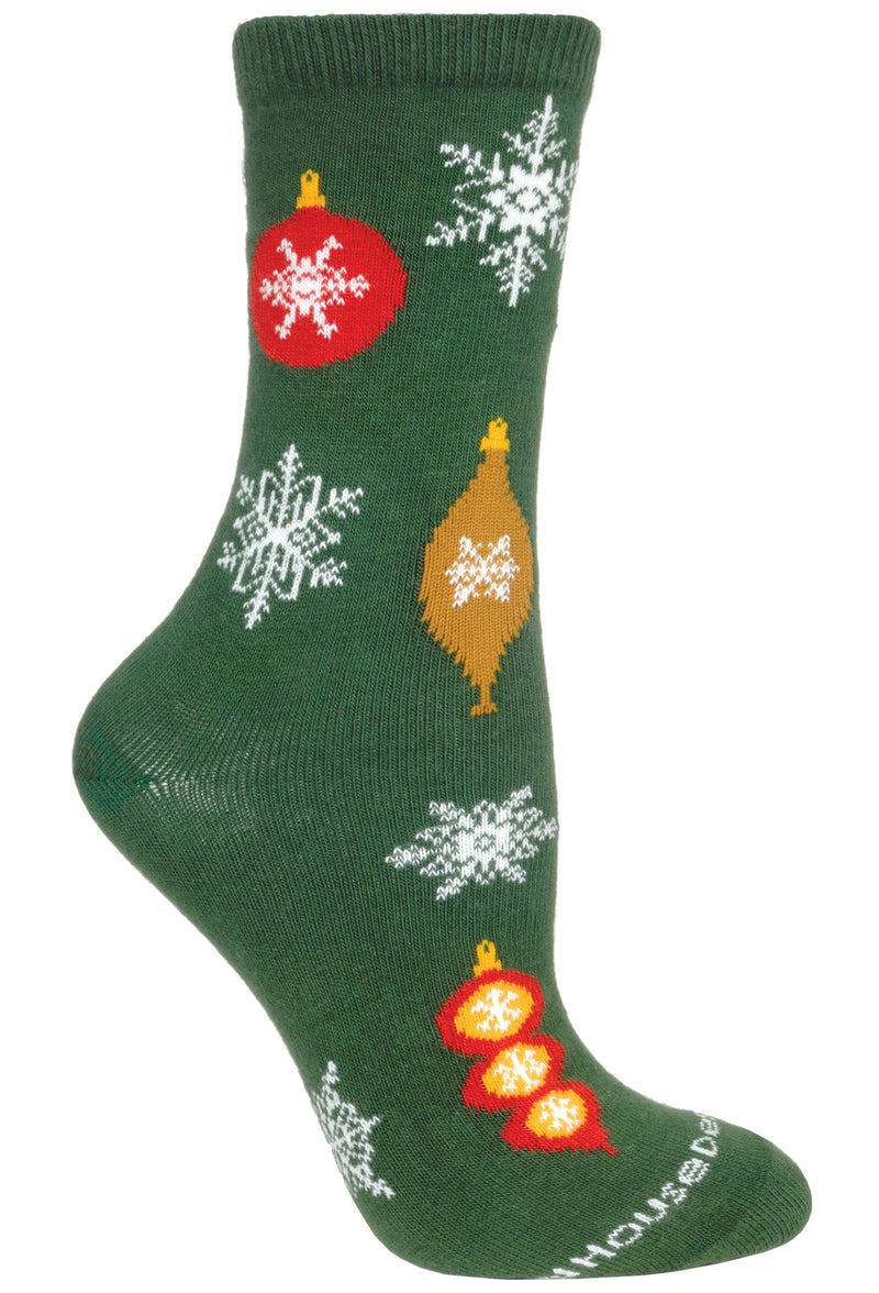 Christmas Ornaments Crew Socks on Hunter Green
