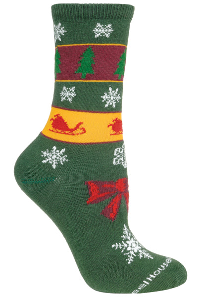 Christmas Stripe Crew Socks on Hunter Green