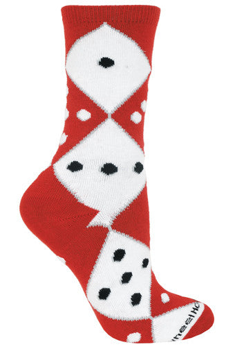 Casino, Dice Crew Socks on Red and White