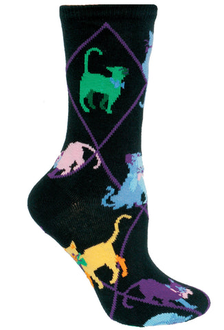 Cats, Colorful on Black Socks