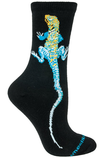Collared Lizard Crew Socks on Black