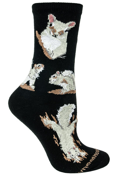 Squirrel Crew Socks on Black