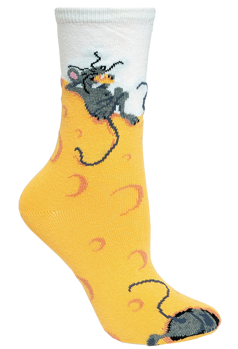 Cheese Mouse Crew Socks on Yellow