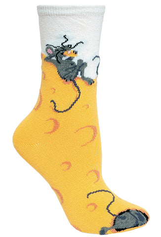 Cheese Mouse on Yellow Socks