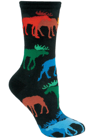 Moose, Colorful on Black Socks