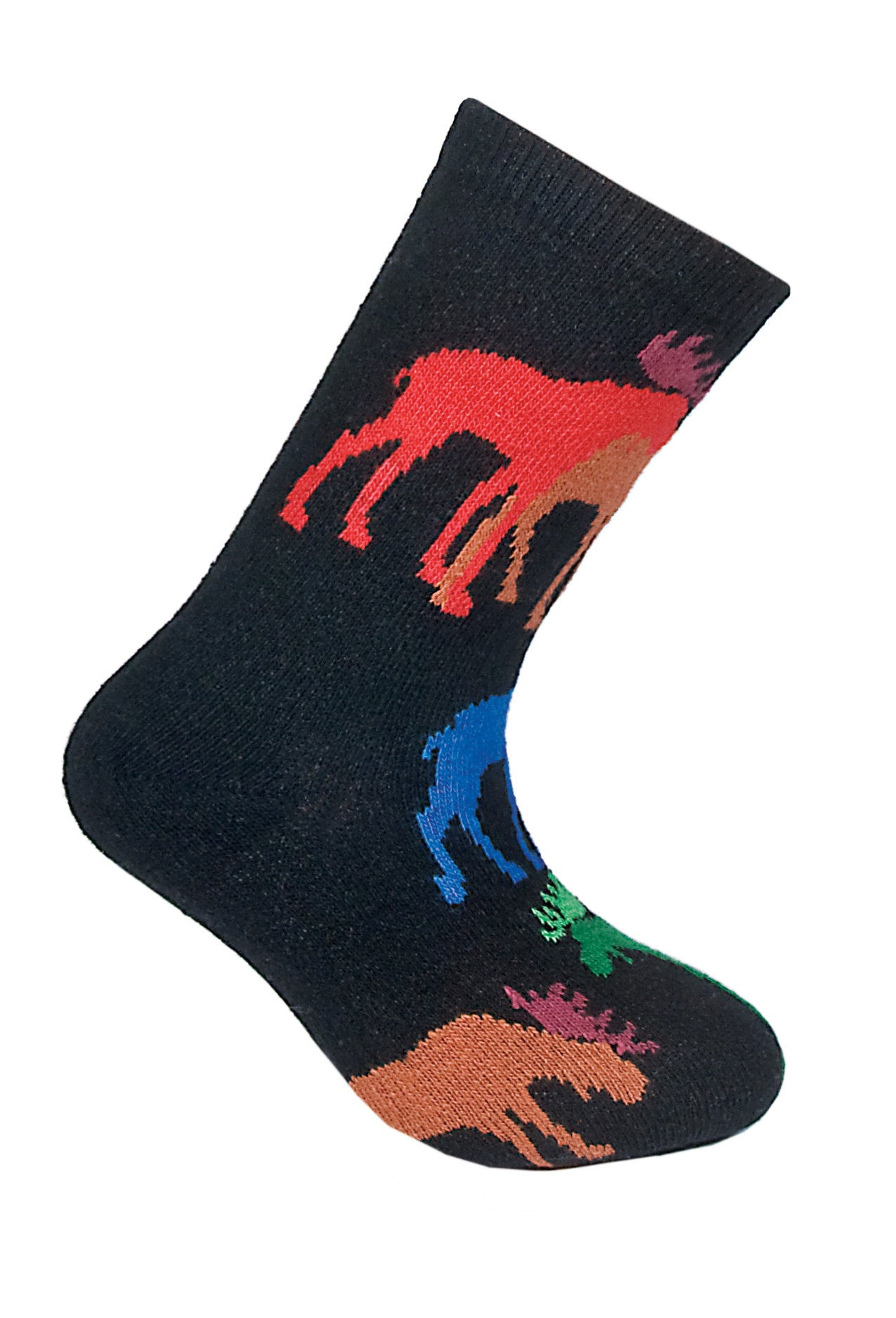 Moose, Colorful on Black Crew Socks