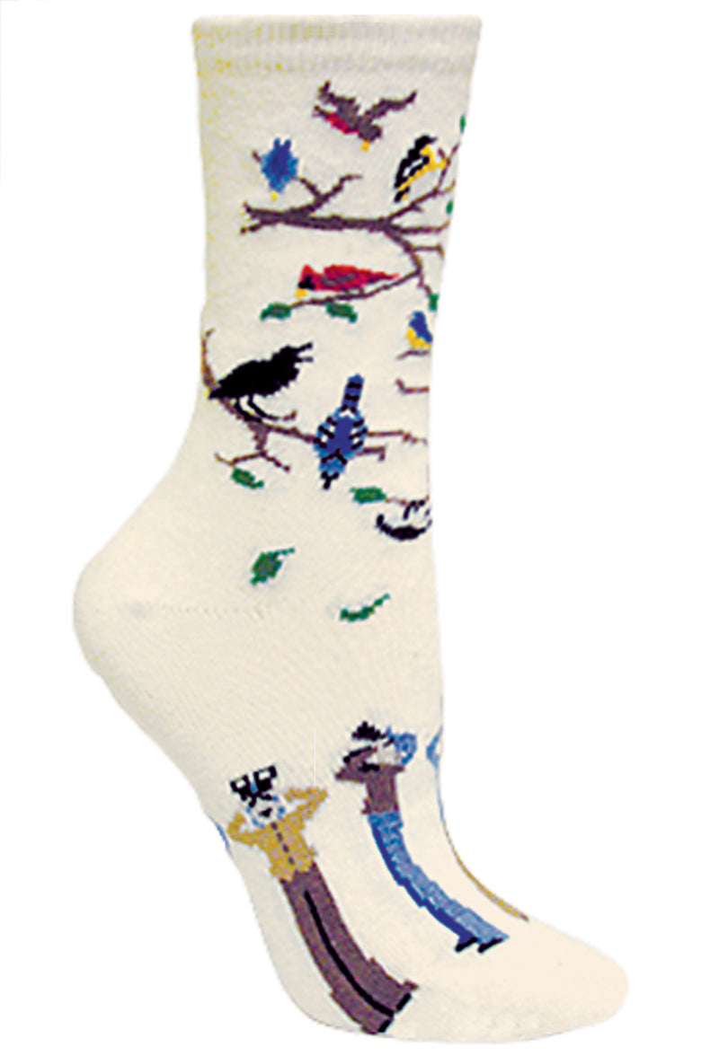 Birdwatcher Crew Socks on Natural
