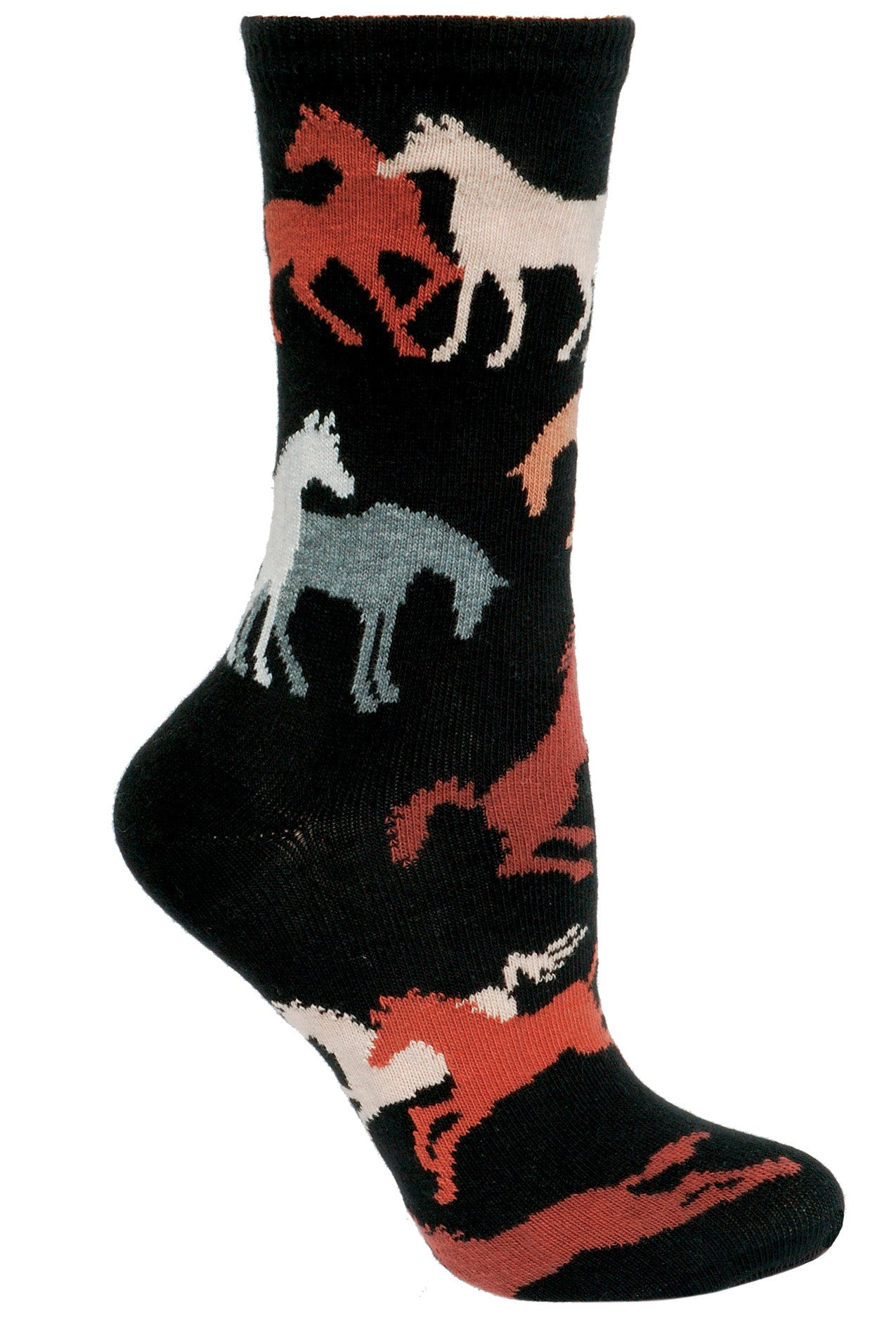 Horses Crew Socks on Black