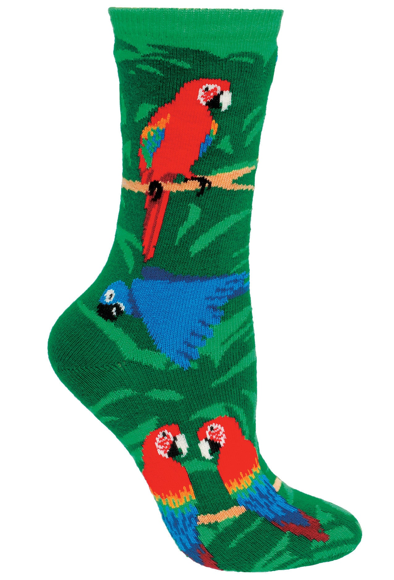 Parrots on Green Crew Socks