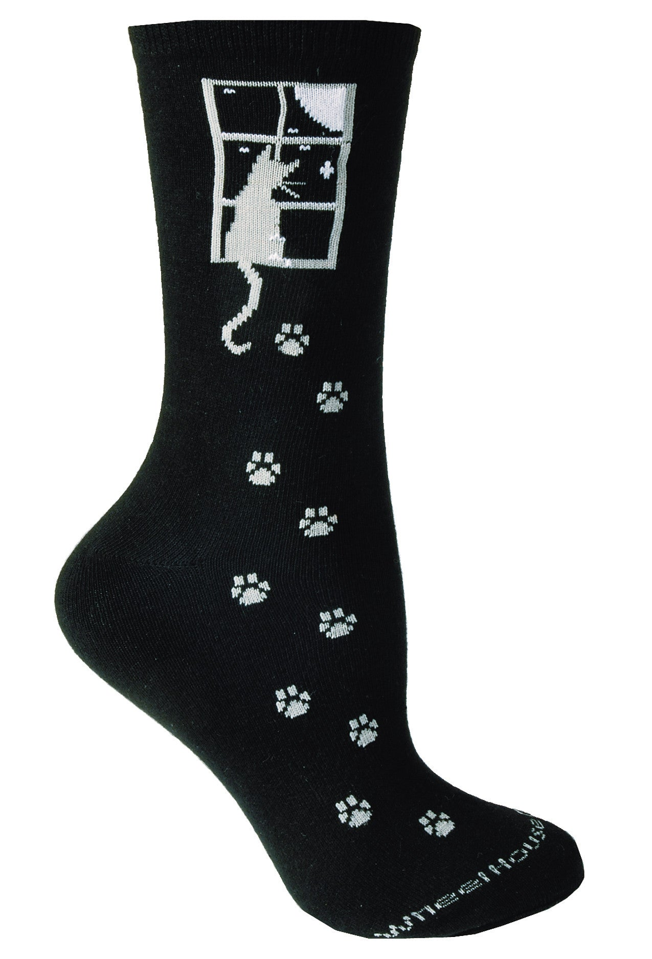 Cat Window, Gray Cat on Black Crew Socks