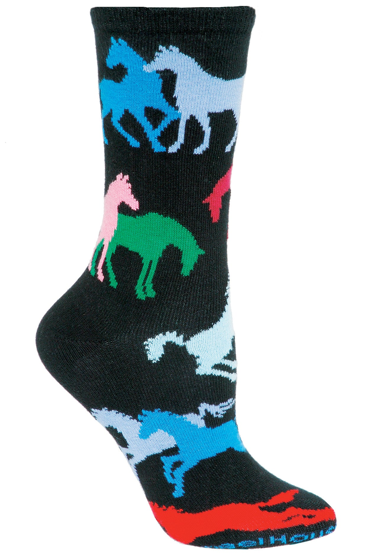 Colorful Horses Crew Socks on Black