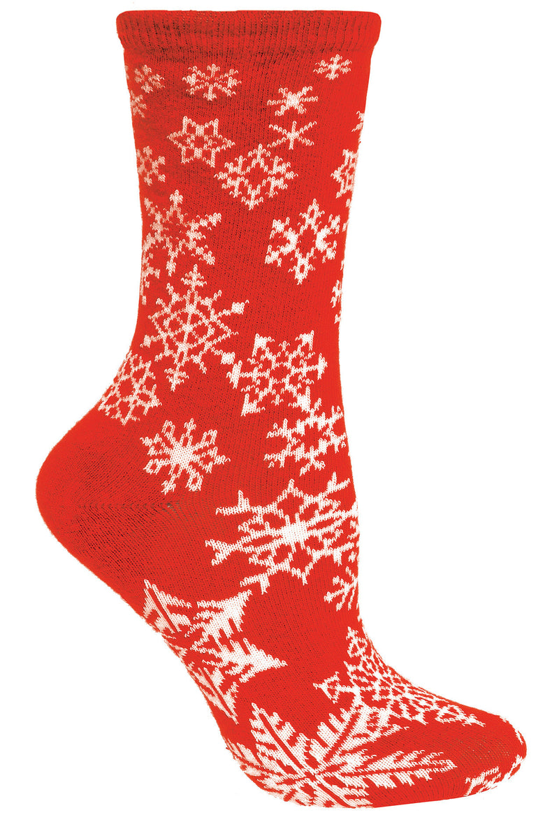 Snowflakes Crew Socks on Red