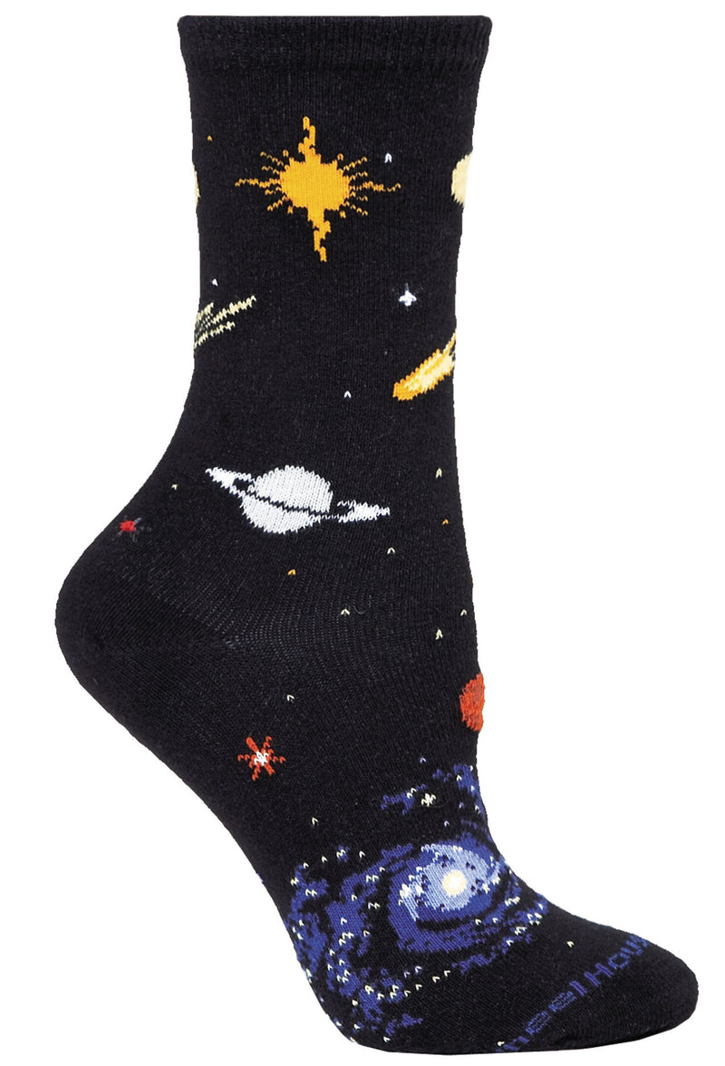 Solar, Night Sky on Black Crew Socks