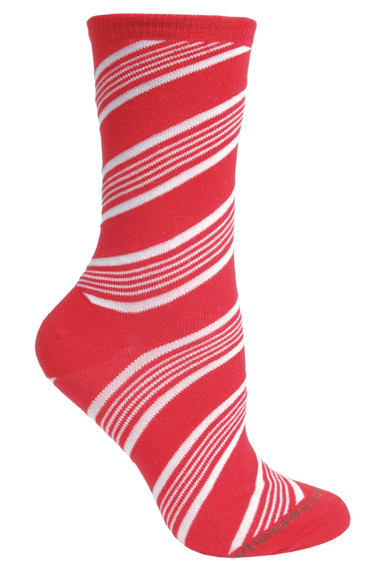 Candy Cane Crew Socks on Red/White