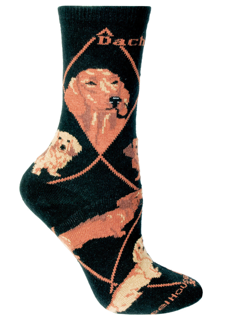 Red Dachshund on Black Crew Socks