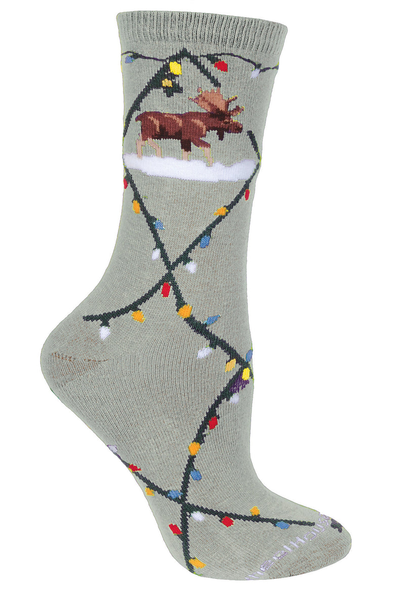 Moose & Lights Crew Socks on Gray